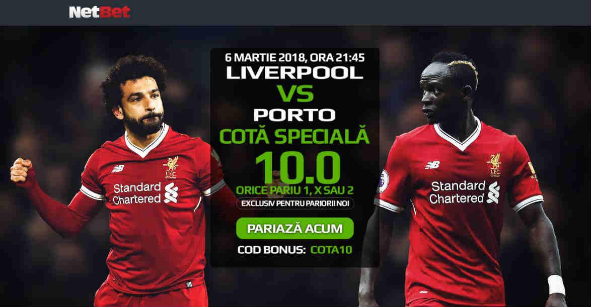 Pariaza la cota 10.00 pe orice rezultat final al partidei Liverpool vs FC Porto