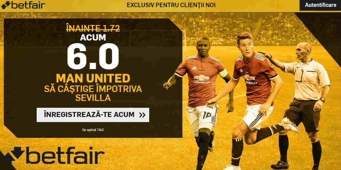 Cota 6.00 pentru Manchester United in returul cu Sevilla