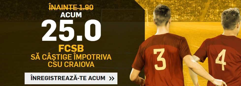 Cota 25 pentru victoria FCSB impotriva CSU Craiova