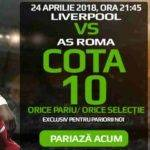 Orice pariu plasat in Liverpool – AS Roma are cota 10.0