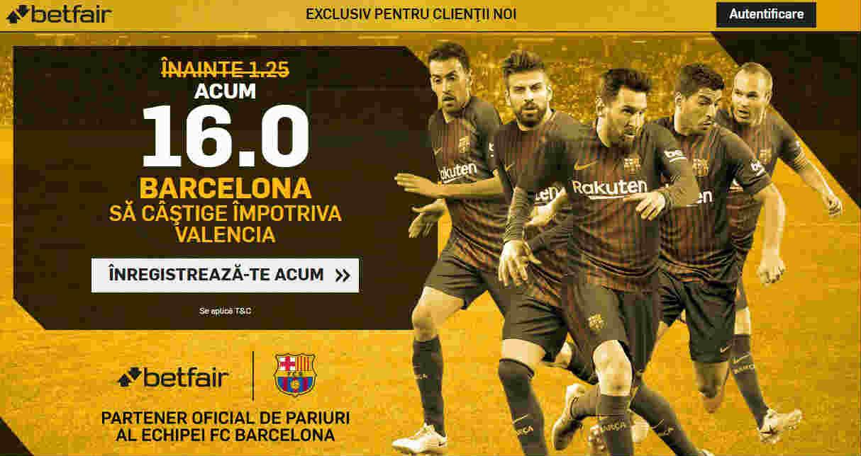 Cota 16.00 pentru Barcelona in partida cu Valencia
