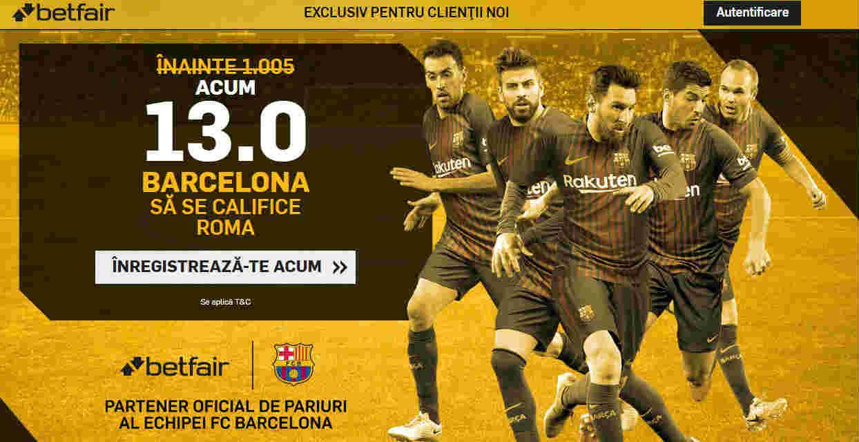 Cota 13.00 pentru calificarea Barcelonei in semifinalele Ligii Campionilor