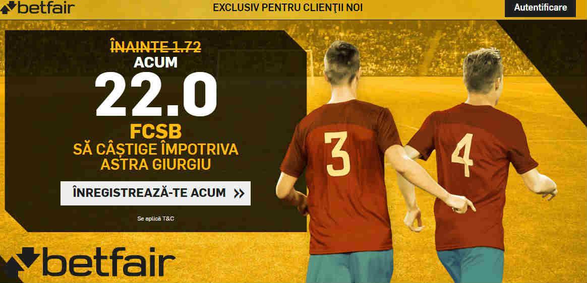 Cota 22.00 pentru FCSB in partida cu Astra Giurgiu