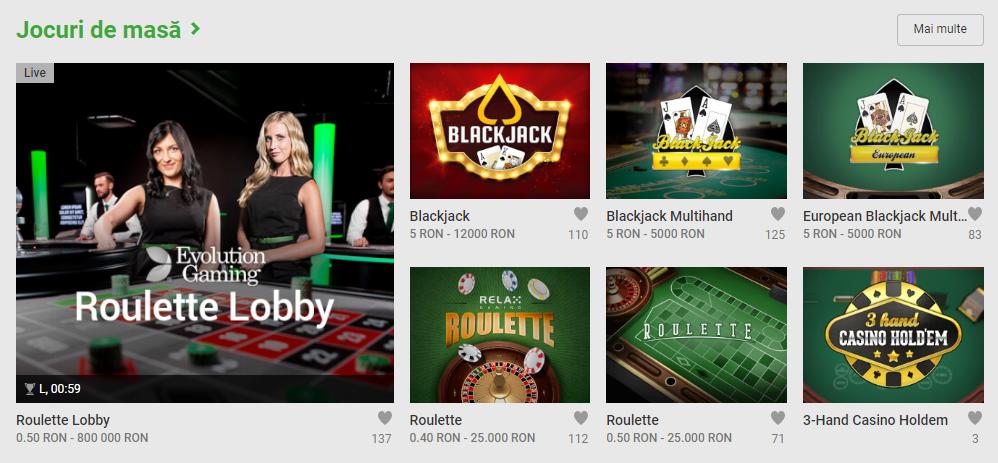 Jocuri de masa - Unibet Cazino